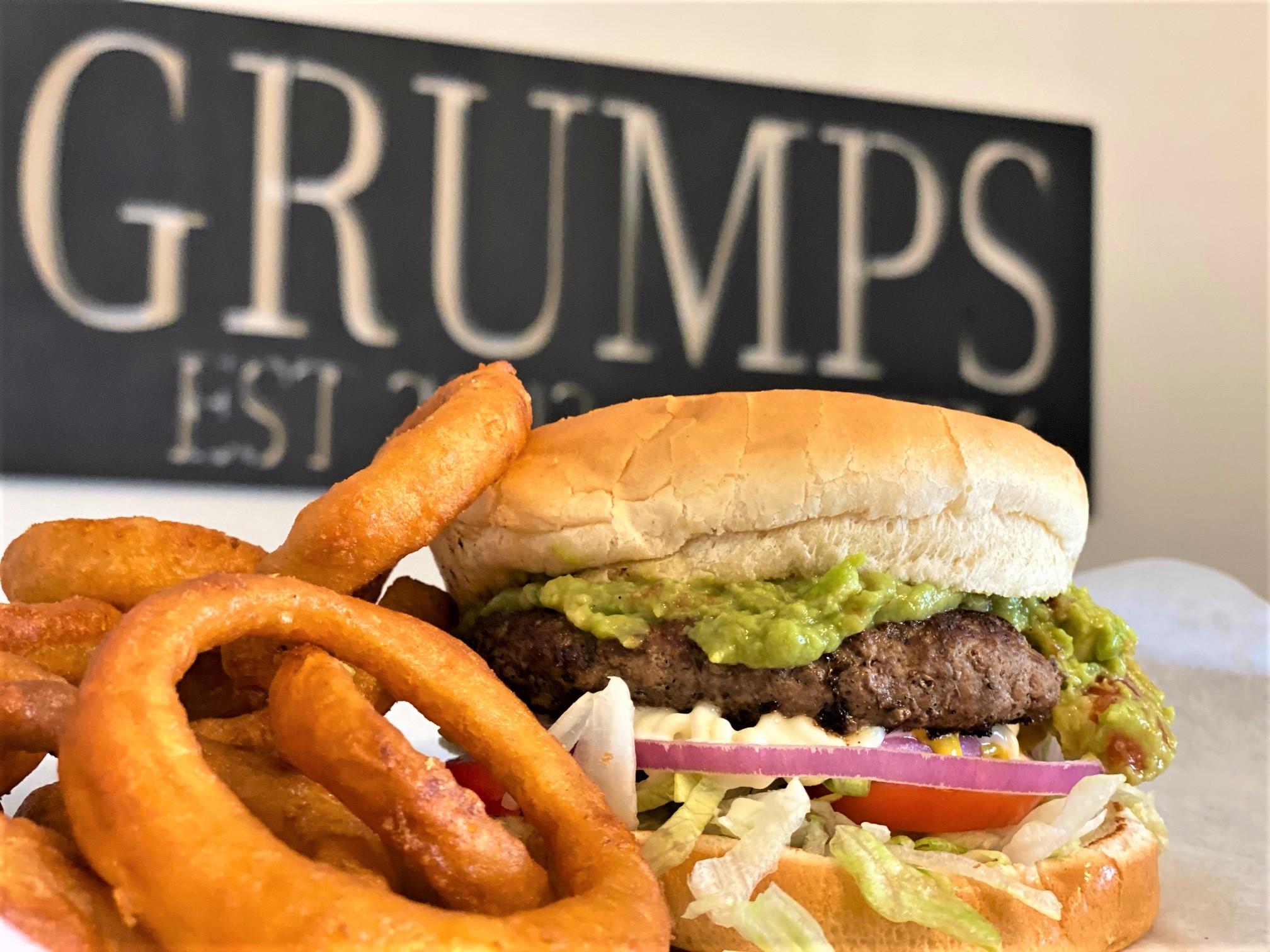 Guacamole Hamburger with Onion Rings